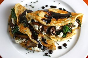 Mushroom and Spinach Crepes with Goat Cheese and Balsamic Drizzle 1 500